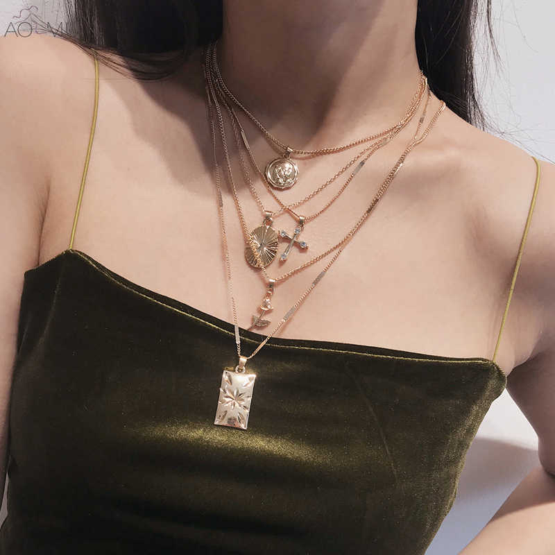 AOMU 2019 New Gold Metal Crystal Cross Carved Portrait Coin Pendant Multi-layer Chain Choker Necklace Female Women Jewelry