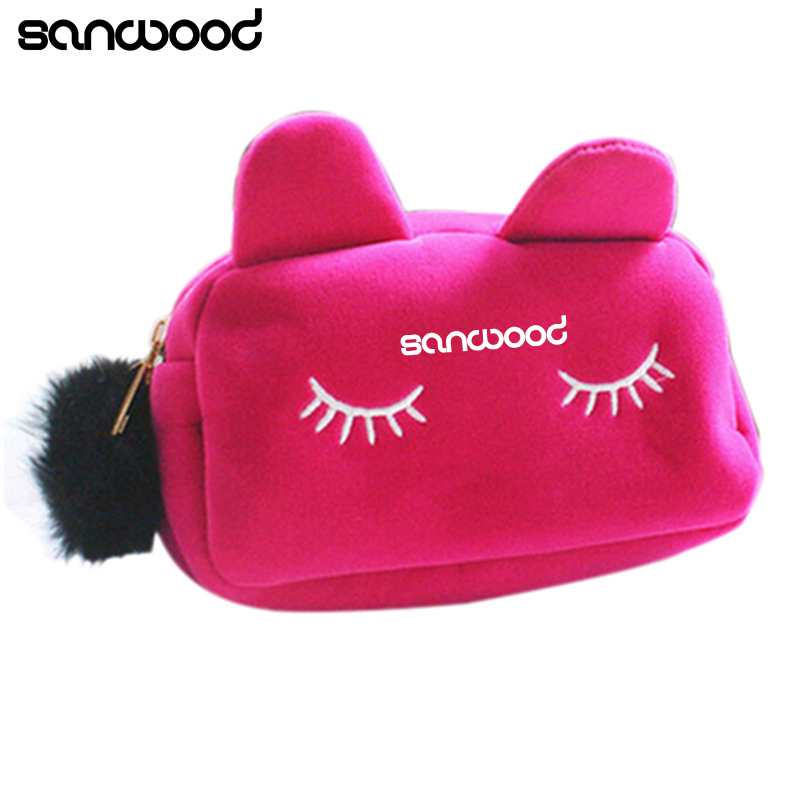 Portable Cartoon Cat Coin Storage Case Day use Makeup Flannel Pouch Cosmetic Bag