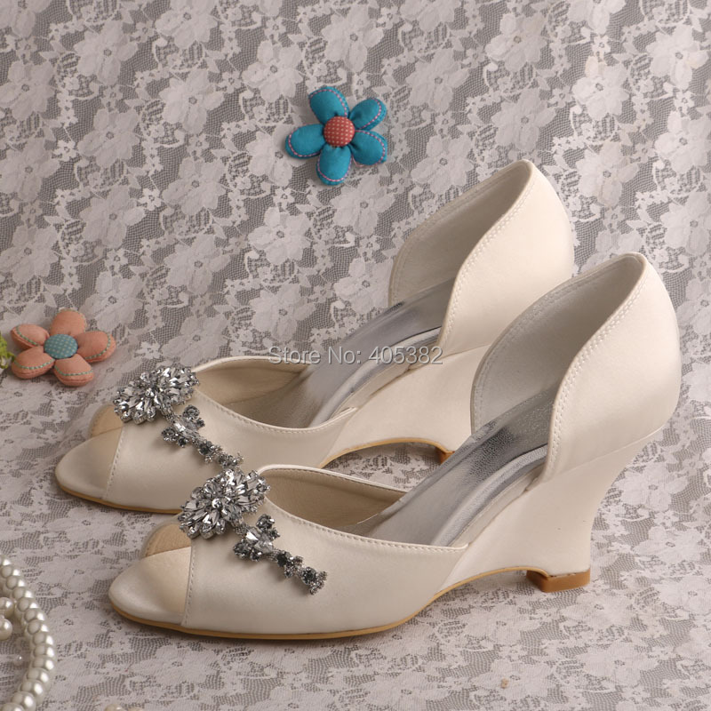 Wedopus MW518 Women Wedge Heel Bridal Peep Toe Rhinestones Satin Wedding  Shoes Ivory In Womenu0027s Pumps From Shoes On Aliexpress.com | Alibaba Group