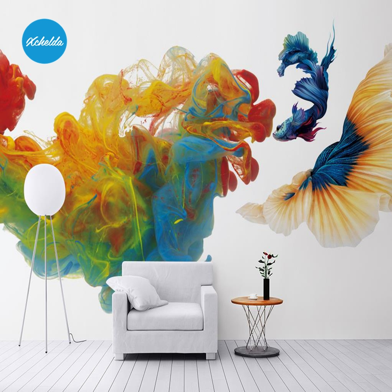 XCHELDA 3D Mural Wallpapers Custom Painting Watercolor Koi Design Background Bedroom Living Room Wall Murals Papel De Parede custom 3d wall murals wallpaper luxury silk diamond home decoration wall art mural painting living room bedroom papel de parede