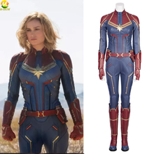 Movie Captain Marvel Cosplay Costume Carol Danvers Jumpsuit Outfit Custom Made Halloween Costumes For Women