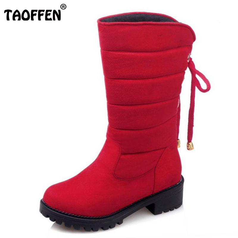 TAOFFEN New Arrive Keep Warm Snow Boots Fashion Thick Fur Platform Mid Calf Winter Boots For Women Shoes Footwear Size 30-52 xiuningyan women height increasing mid calf snow boots women zipper fashion shoes women thick fur warm winter botas size 35 40