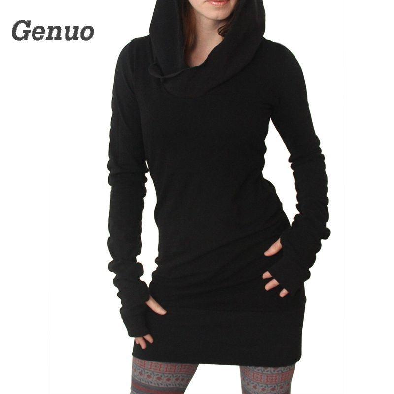 Genuo Black Hoodies Dress Women Autumn Winter Gothic Dresses Hole Long Sleeve Loose Hooded Mini New Arrival