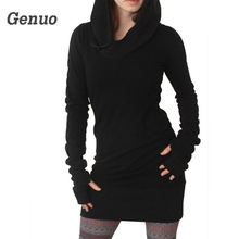 Genuo Black Hoodies Dress Women Autumn Winter Gothic Dresses Hole Long Sleeve Loose Hooded Mini New Arrival
