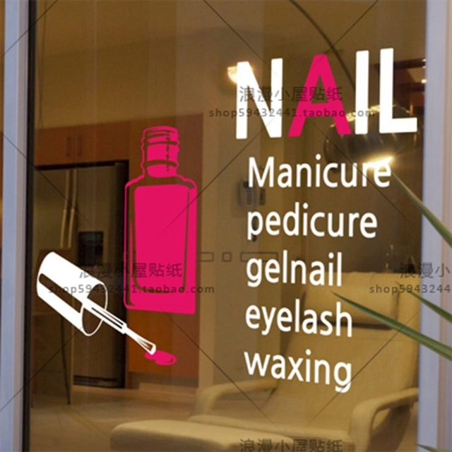DCTAL Nail Salon Sticker Spa Decal Posters Vinyl Wall Art Decals Pegatina Decor Decoration Mural