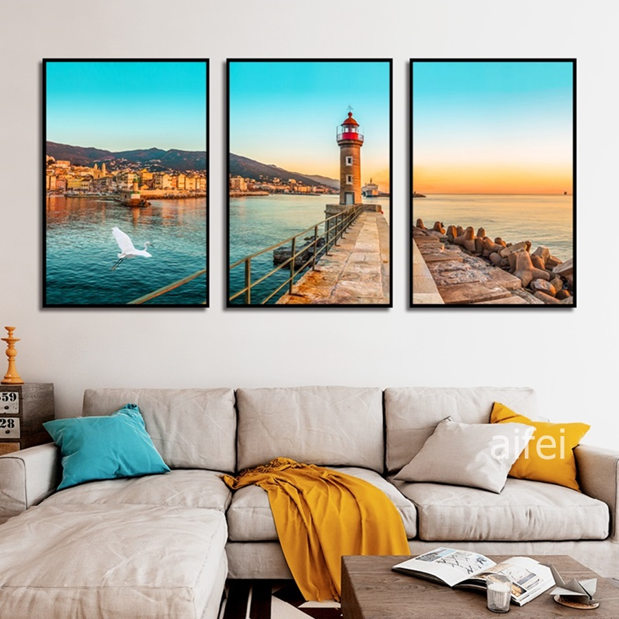 Blue Sea Sunset Coastal Landscape Painting Nordic Seascape Poster Canvas Art Wall Pictures For Living Room Home Decoration
