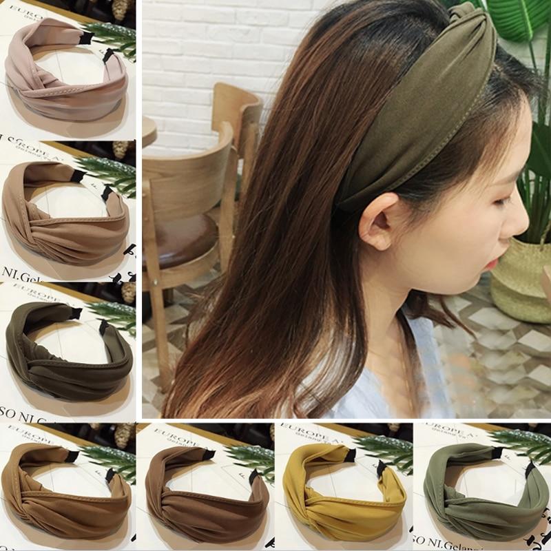 Fashion 1PC Cloth Bow Hoop Knot Cross Tie Hair Band Hair Accessories Headwear for Women Girls Simple Headwrap Headband