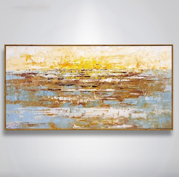 Handmade thick knife high quality Modern Abstract Fine Artwork Canvas Gold colored sky Bedroom artwork Wall Oil Painting