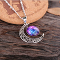 Hot Sale Fashion Gorgeous Galaxy Stars Silver Plated Hollow Star Moon Time Series Necklaces & Pendants For Woman