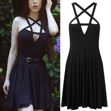 Summer Fashion Women Dress Gothic Vintage Romantic Casual Without Belt Sexy Black Nq816758