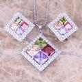 Сладкий Multicolor Multigem Серебро 925 Серьги Ожерелье Ювелирные Наборы S0809