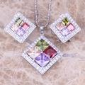 Sweet Multicolor Multigem 925 Sterling Silver  Earrings Pendant Necklace  Jewelry Sets S0809