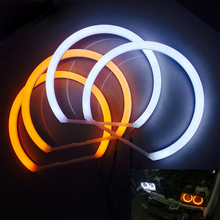 Hopstyling כפולה Colore לבן + צהוב SMD LED עיני מלאך עבור BMW E36 E38 E39 E46 מקרן פנס כותנה אור שגיאת משלוח