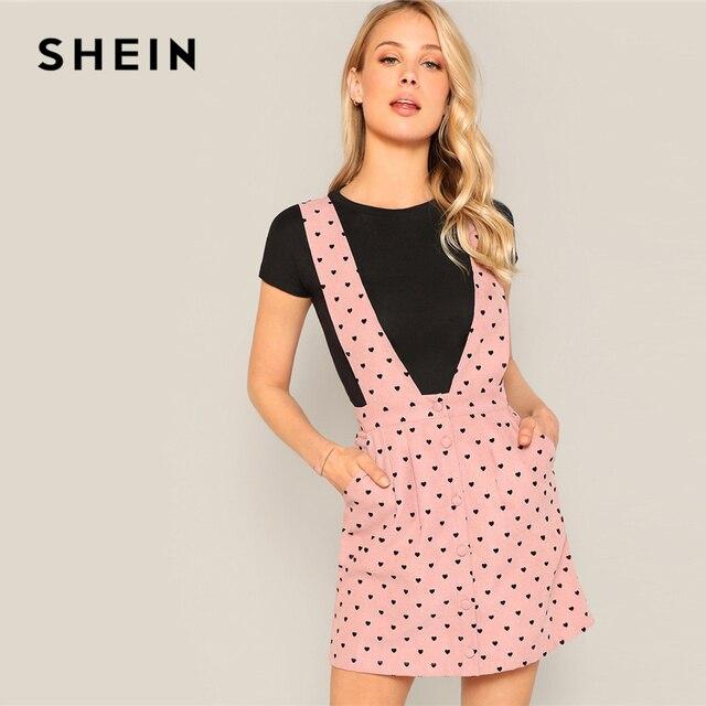 5c1790d8e84c SHEIN Pink Allover Heart Print Pocket Side Pinafore Button Straps Mini Dress  2019 Spring High Waist Sleeveless Pinafore Dresses