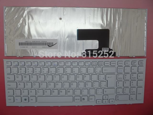 Laptop Keyboard for SONY VPC-EH White BR Brazilian with Frame V116646F-BR 148971711 laptop keyboard for acer silver without frame bulgaria bu v 121646ck2 bg aezqs100110