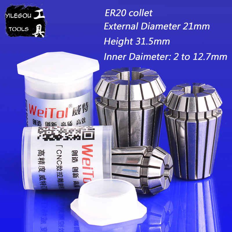 5 pièces ER20 pince à ressort 3.175 6 8 10 12.7mm ER20 jeu de mandrin pour fraiseuse CNC, diamètre extérieur 21mm, hauteur 31.5mm,