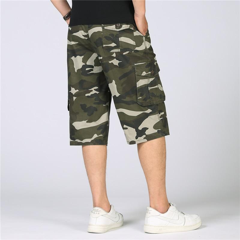 Summer Camouflage Cargo Shorts Men Knee Length Military Camo Shorts Men Casual Cotton Combat Baggy Tactical Shorts Plus Size 5XL