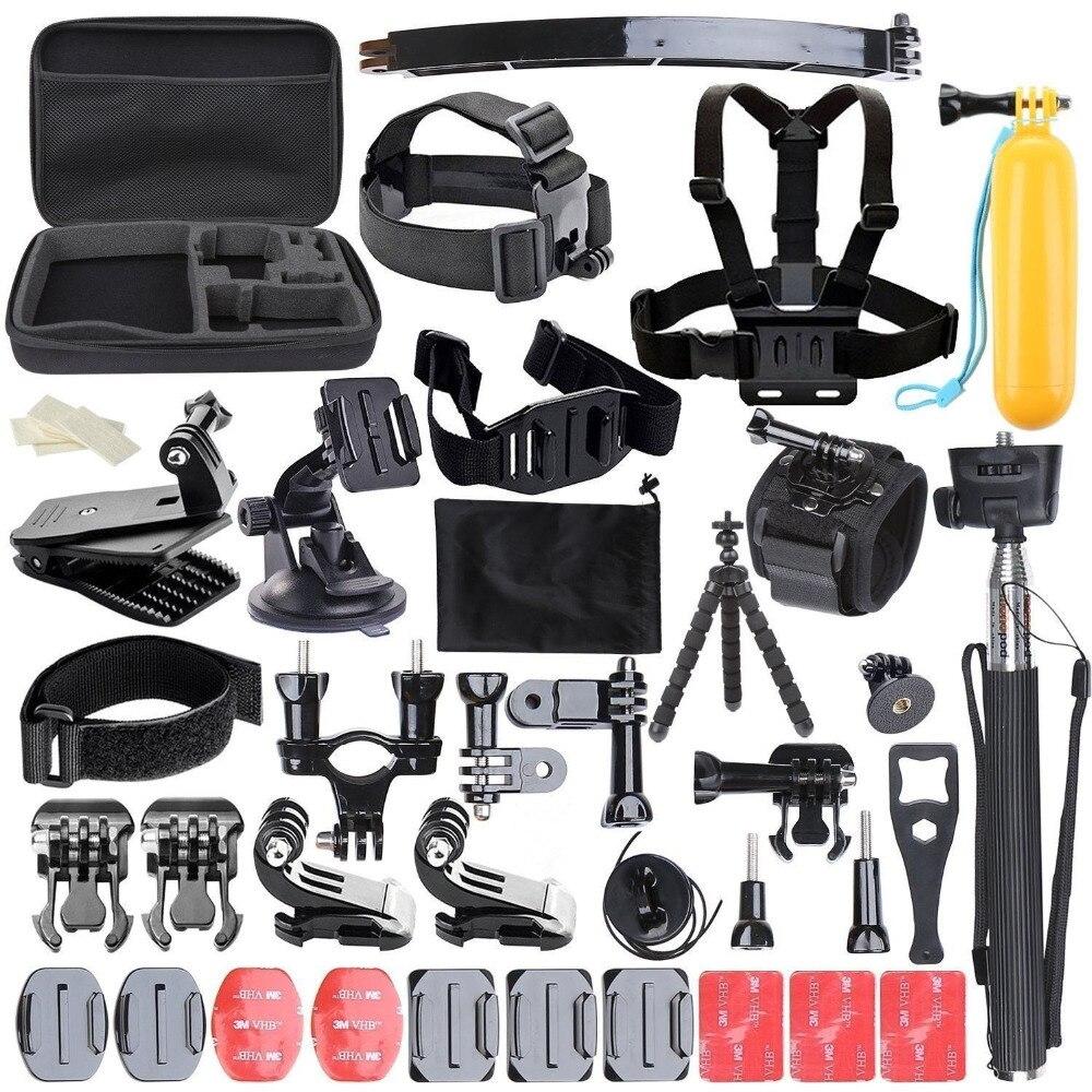 50 en 1 Gopro5 accessoires Set tête de poteau flottant sangle de montage de poitrine voiture ventouse avec étui sac Action caméra accessoires Kit