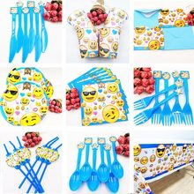 Hot! hot Emoji Expressio Kids Birthday Party Decoration Set Fontes Do Partido guardanapos Chapa Xícara Bandeira Chapéu de Palha Bag Loot Garfo knive(China)