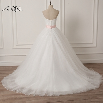 ADLN Sweetheart Sleeveless Puffy Wedding Dress with Pink Sash A-line White/Ivory Tulle Princess Bridal Gown Plus Size