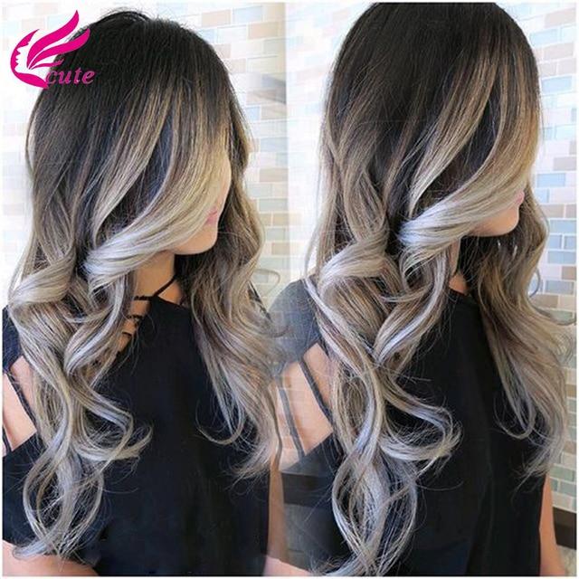 new 3bundles 8a virgin ombre brazilian hair body wave grey hair