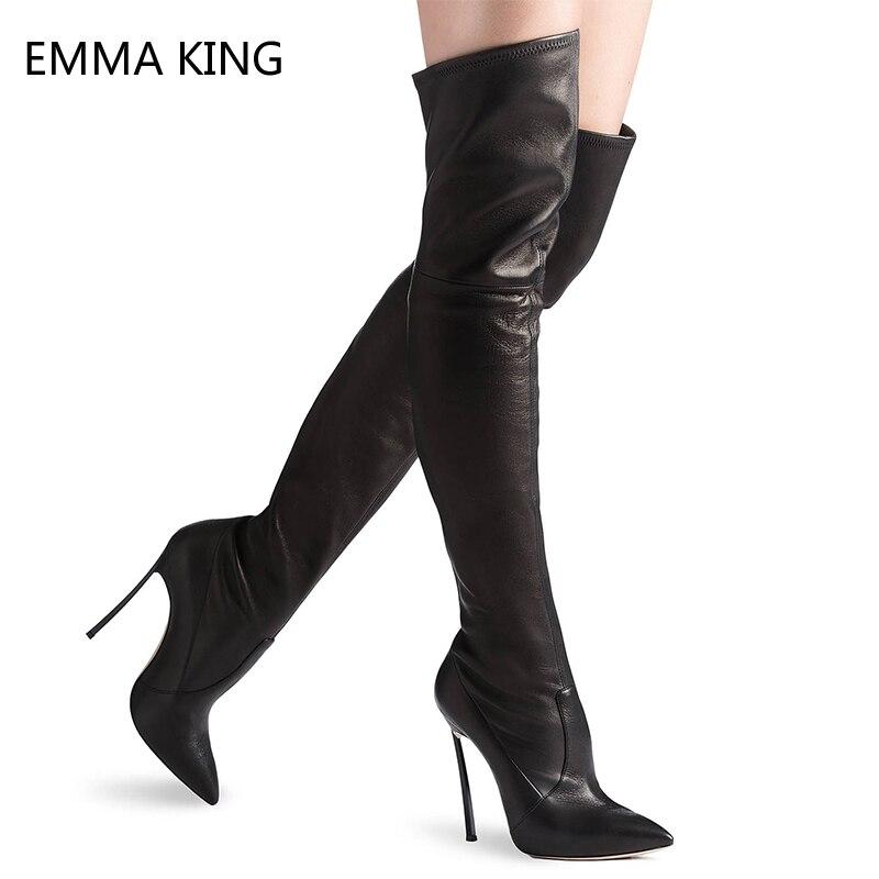 Le Stretch Dames Haut Talons Sexy 12 Femmes Stiletto Genou As Cuir Chaussures Noir Pointu Cm Sur Longues Bout En Picture Bottes Haute 8wU7q8a