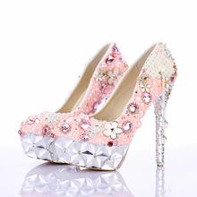 2016 Gorgeous Pink Flower Crystal Heel Platforms Wedding Ceremony Party Shoes Rhinestone Bridal Dress Shoes Luxury Prom Pumps