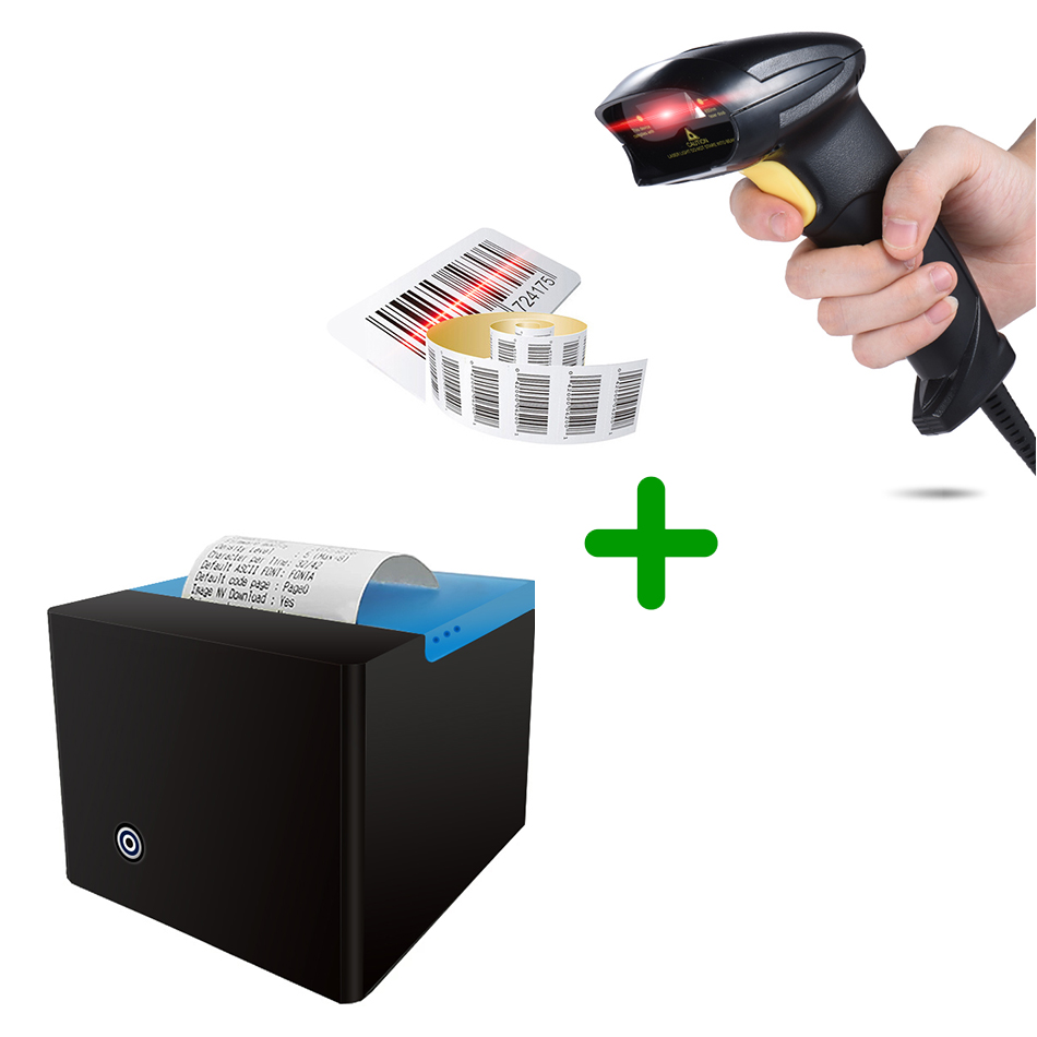 Bluetooth Printer and laser barcode scanner 1D USB 58mm Thermal Receipt Printer USB Port barcode reader laser GZM5808+BS-YL001 i58tp04 ipbs052 58mm thermal receipt printer usb port 1d barcode scanner for restaurant shopping market warehouse