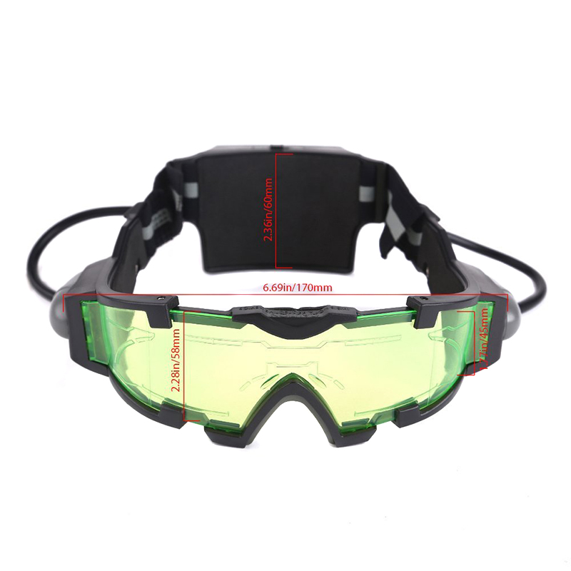 Men Women Night Vision Goggles for Skiing PC Lens Elastic Band Eye Protective Glasses With LED Light ALS88