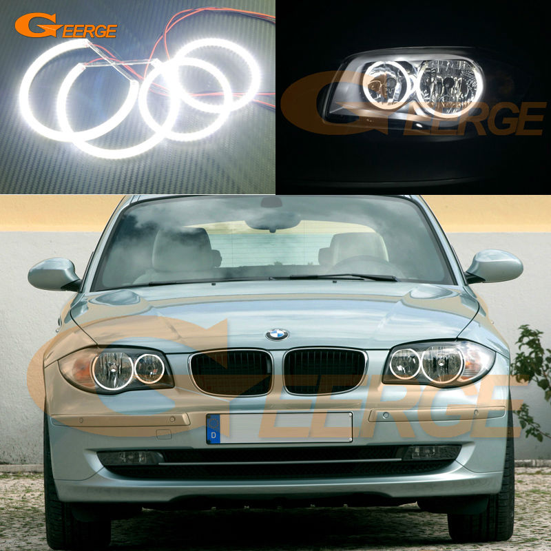 For BMW 1 Series E81 E82 E87 E88 Halogen Headlight Excellent Ultra bright illumination smd led Angel Eyes Halo Ring kit ветровики skyline bmw 5 series e34 88 96 sd