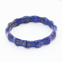 Blue Natural Lapis Lazuli Stone Beads Bracelets For Men Women 10x14mm Geometry Shape Bangle Manual Charms Jewelry 7.5inch B3278