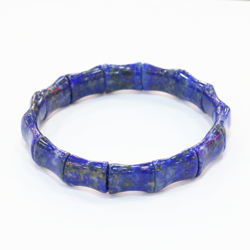 Blue Natural Lapis Lazuli Stone Beads Bracelets For Men Women 10x14mm Geometry Shape Bangle Manual Charms Jewelry 7.5inch B3278