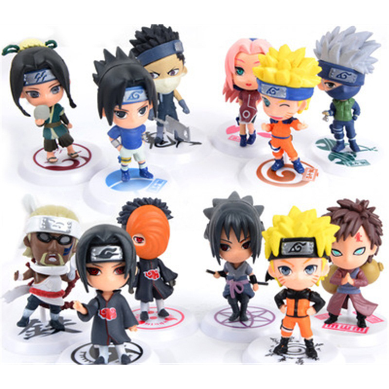 "6pc/set Anime Naruto Action Figure toys 3"" Q Version Naruto PVC Figures Model Collection 12pcs Full Set WX170"
