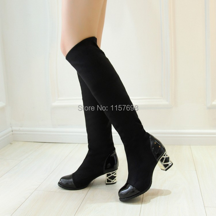 ФОТО Small yards 32 japanned leather color block decoration elastic velvet stovepipe women's boots thick high-heeled boots