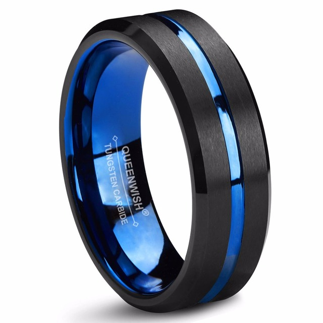 Queenwish Anniversary Rings Blue Tungsten Wedding Bands Him Grooved Center Double Sided Steps Promise