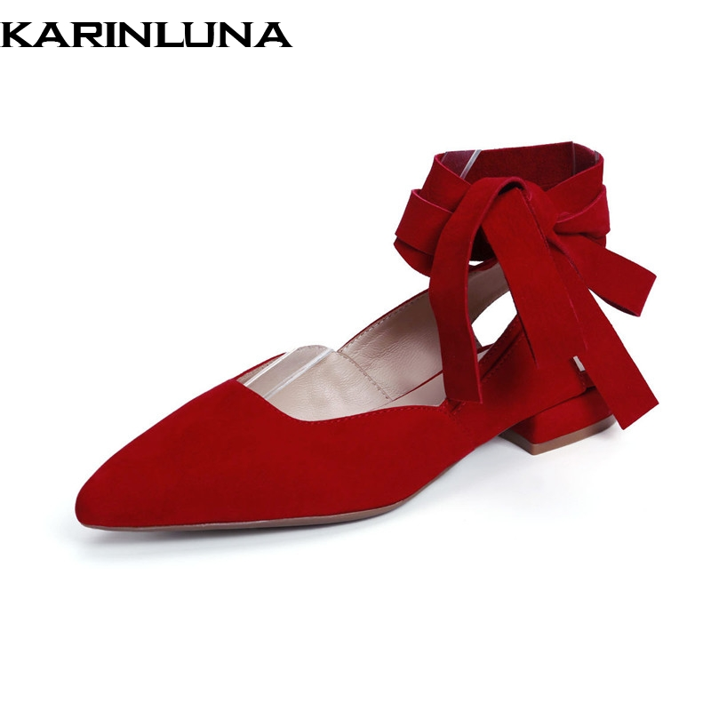 KarinLuna Kid   Suede   Genuine   Leather   Pointed Toe Flats Ankle Cross Strap Fashion Woman Shoes Large size33-43