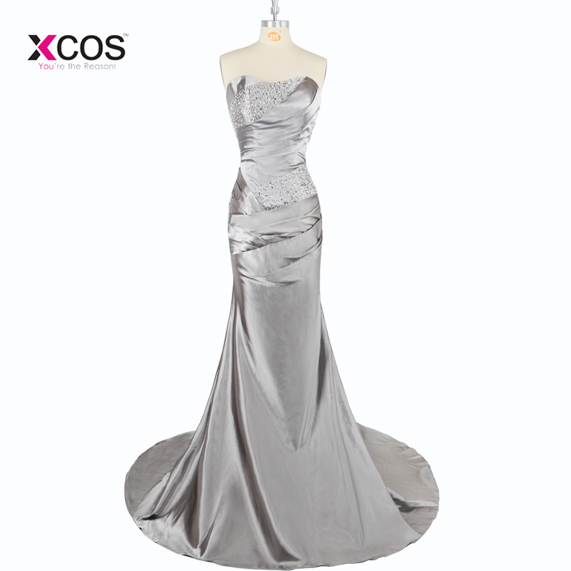 Brautjungfernkleid 2018 Long Grey   Bridesmaid     Dresses   for Weddings Sweetheart Sleeveless with beadings   Bridesmaid     Dress