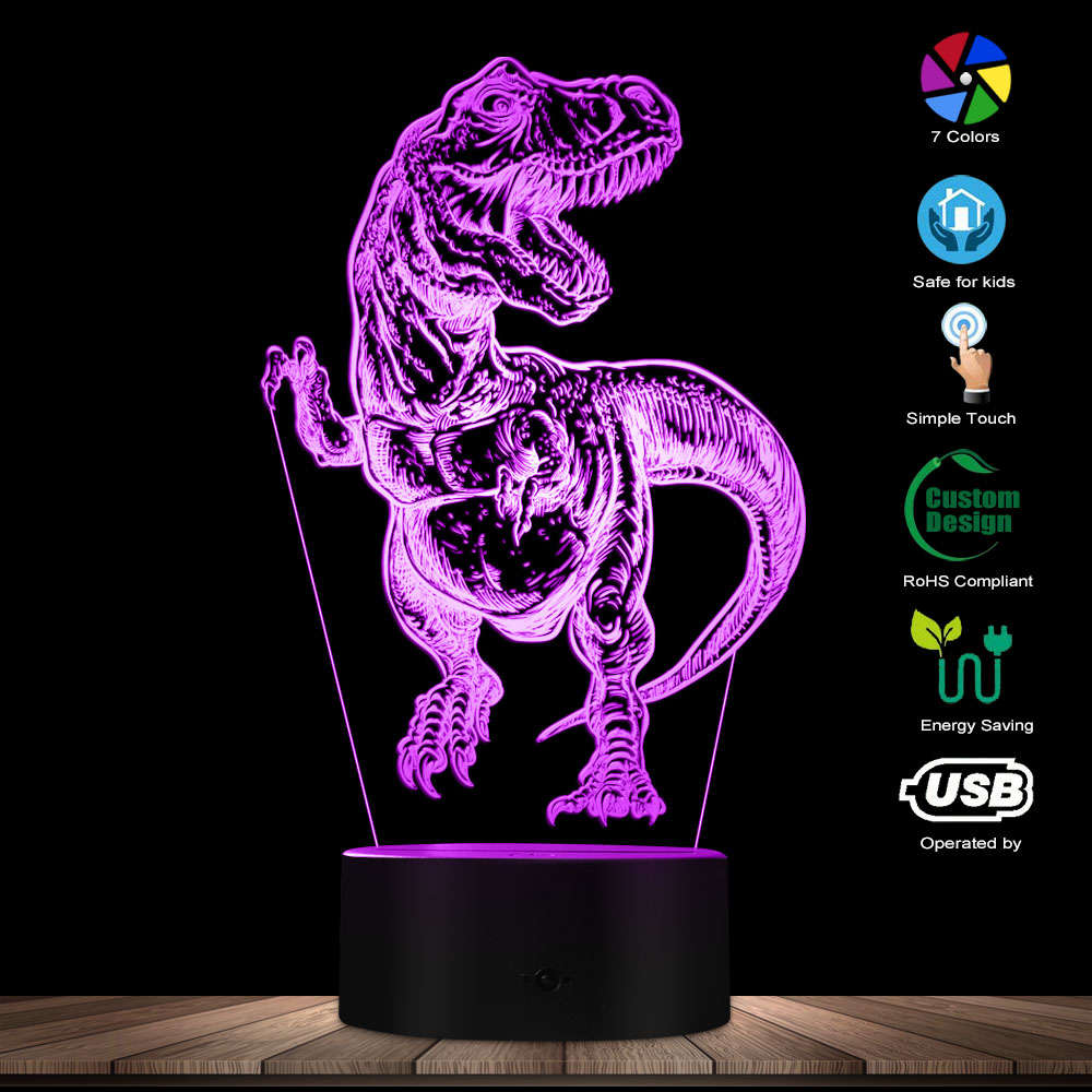 Hand Drawn Tyrannosaurus Rex 3D Optical Illusion Night Light T-Rex Bedroom Colorful Night Lamp Dinaosaur Lighting Art Dino Gifts