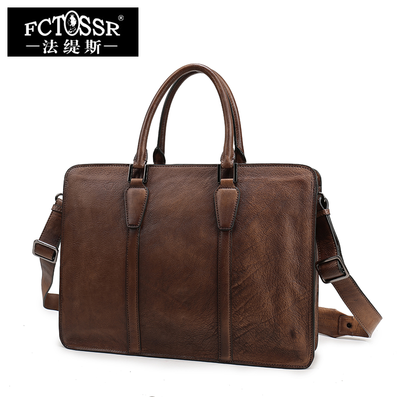 2018 New Retro Genuine Leather Leisure Shoulder Bag Handmade First Layer of Cowhide Men's briefcase Leather briefcase qiaobao 2018 new korean version of the first layer of women s leather packet messenger bag female shoulder diagonal cross bag