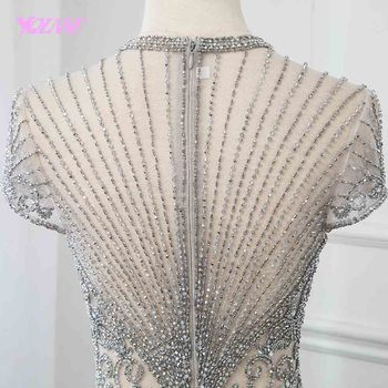 New Collection 2019 Glitter Silver Rhinestones Long Evening Dresses Elegant Nude Tulle Pageant Dress Women Gown Vestidos YQLNNE 5
