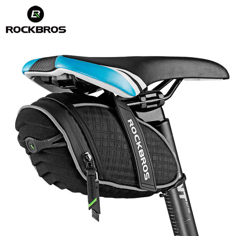 ROCKBROS Fahrrad Sattel Tasche 3D Shell Regendicht Reflektierende Stoßfest Radfahren Fahrrad Schlauch Hinten Schwanz Sattelstütze Tasche Fahrrad Zubehör