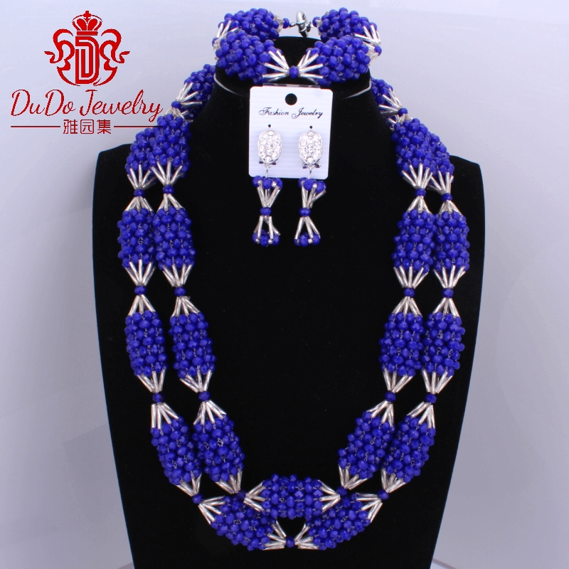 Free Shipping Royal Blue And Silver Big Design African Jewelry sets Long Necklace Nigerian Beads Wedding Dubai Jewelry sets Free Shipping Royal Blue And Silver Big Design African Jewelry sets Long Necklace Nigerian Beads Wedding Dubai Jewelry sets