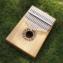 17 Keys Kalimba Single Board Bamboo Thumb Piano Mbira Natural Mini Keyboard Instrument with Complete Accessories