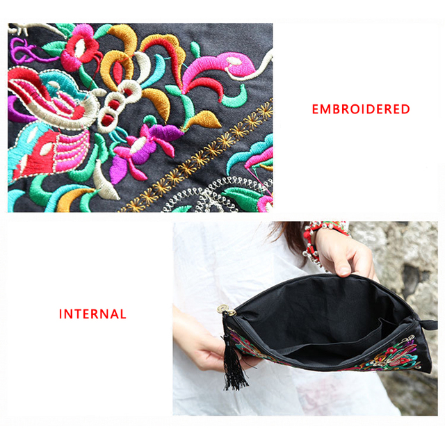 2019 New National Ethnic Women Embroidery Wallet Embroidered Flower Coins Purse Bags Women's Small Handbag Clutch Bag 3 Styles 3