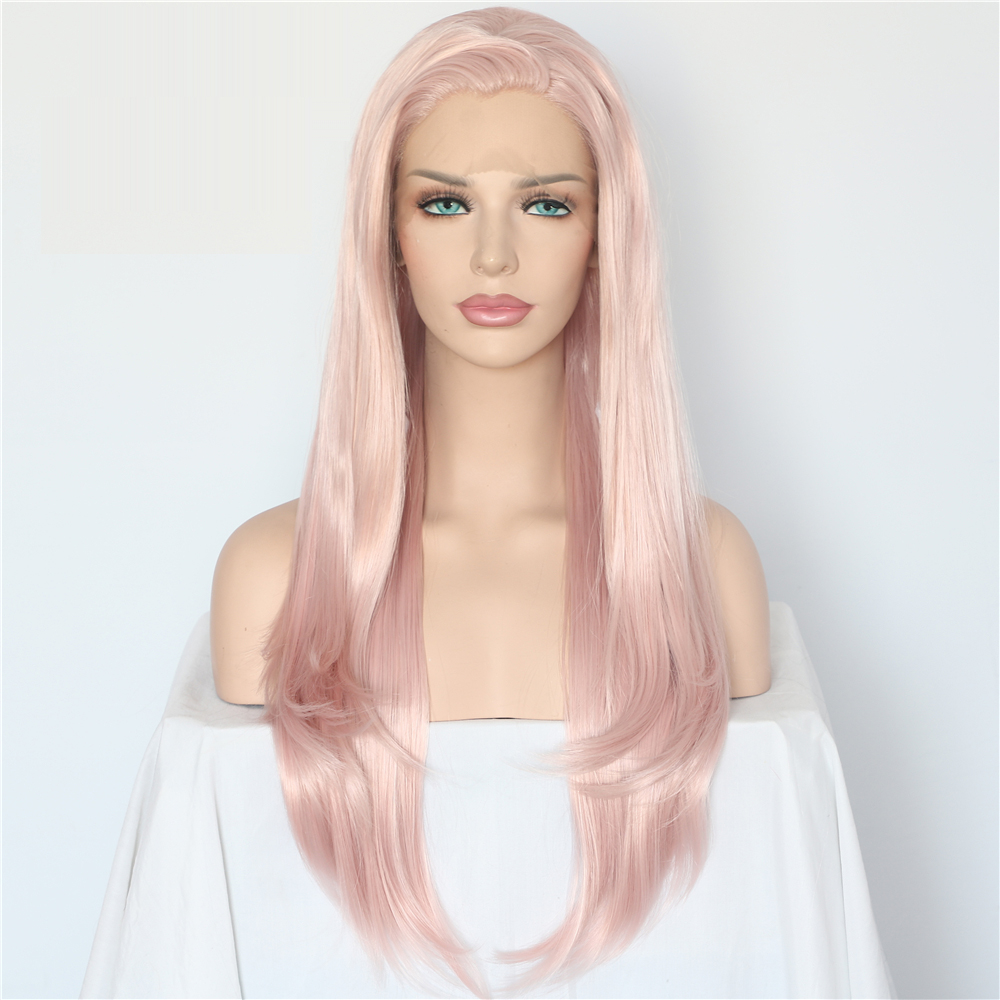 Lvcheryl Natural Long Wave Pink Color hair Hand Tied Heat Resistant Hair Full Density Synthetic Lace