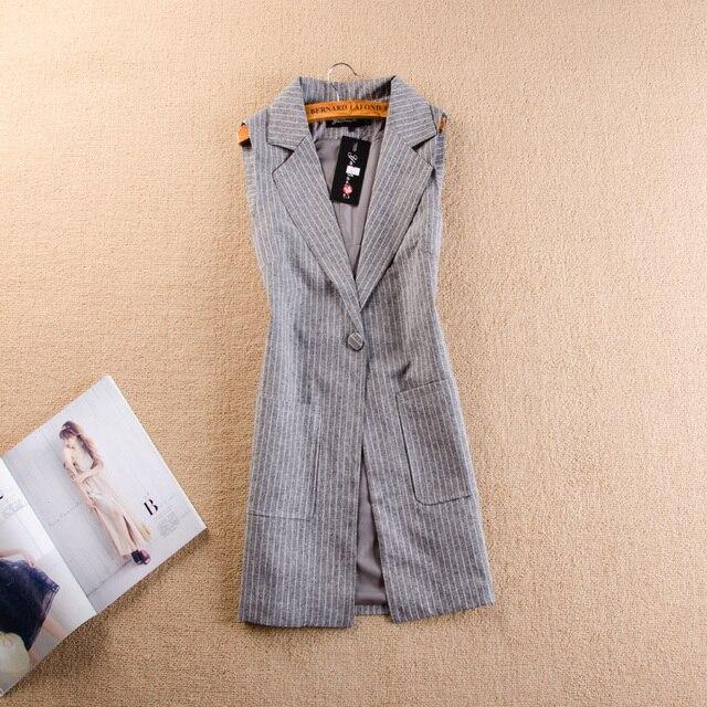 Осень новый весной и летом высокое качество полосой темперамент Тонкий тонкий длинный участок костюм жилет женский пальто жилет