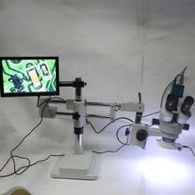3.5X-90X Podwójne Ramię Boom Stand Mikroskop Trinocular Stereo Zoom + 14MP HDMI USB Mikroskop Przemysłowa Kamera + 144 LED Lights