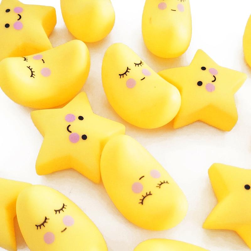 Adorável estrelas lua squeeze brinquedos de água das crianças gelatina macia brinquedos de som engraçado bb hawking engraçado engenhocas alívio do estresse