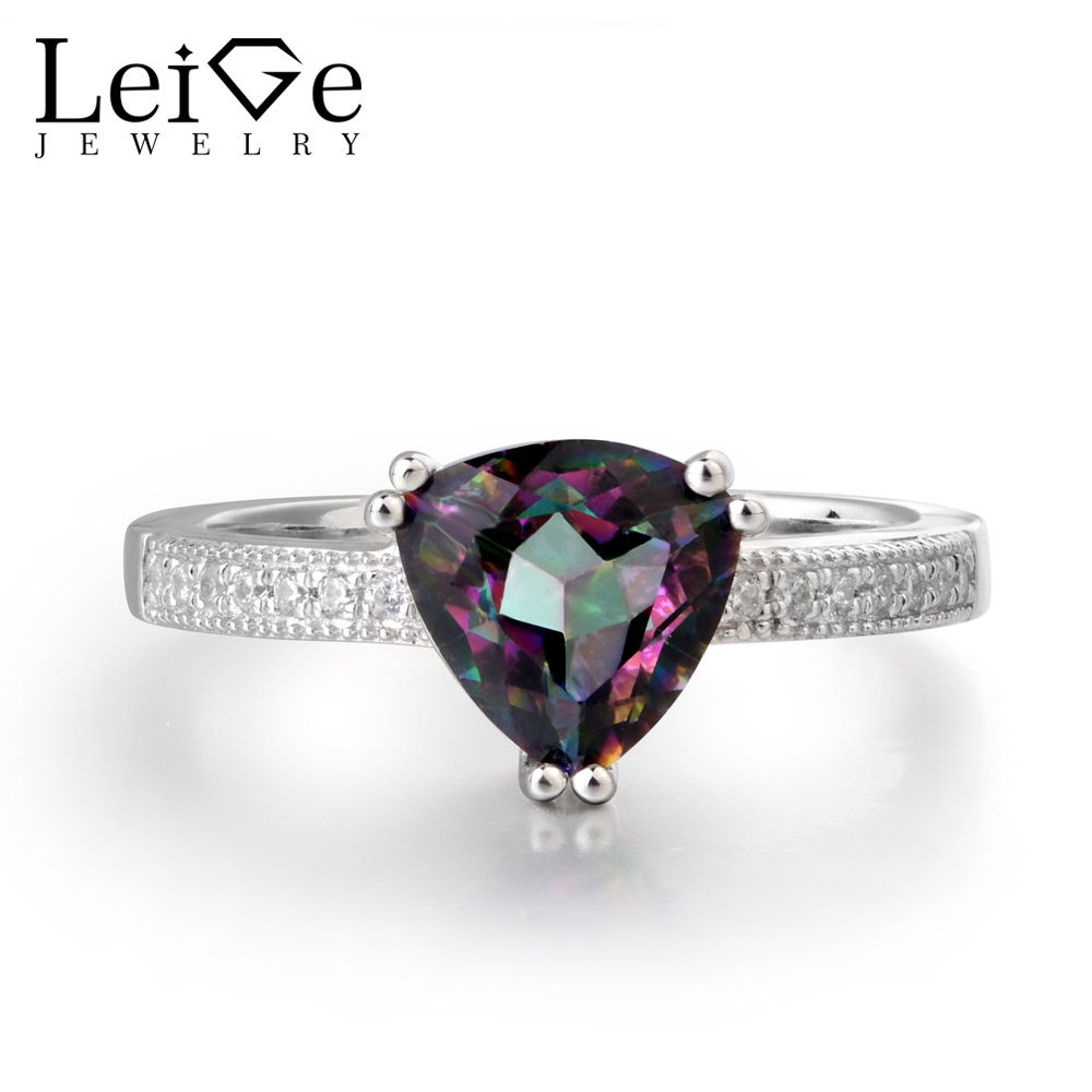 Leige Jewelry Rainbow Colorful Mystic Topaz Rings Trillion Shape Wedding Rings Romantic Gifts FOR Woman 925 Sterling Silver