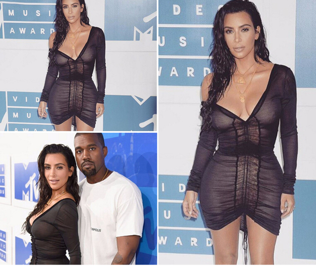 Kim Kardashian Party Dresses Deep V-Neck Sexy Black Mesh Dress Women Pleated Draw String Bodycon Dress Robe Vestidos BH-201 1
